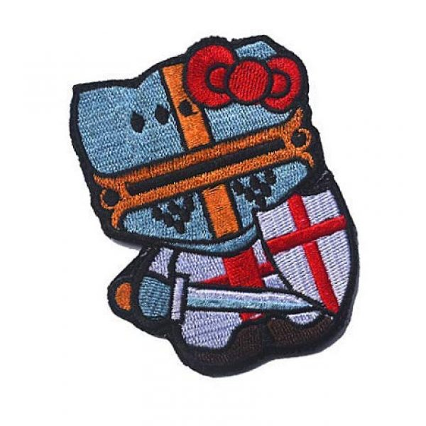 Embroidery Patch Airsoft Morale Patch 2 Hello Kitty Crusader Knight Military Hook Loop Tactics Morale Embroidered Patch
