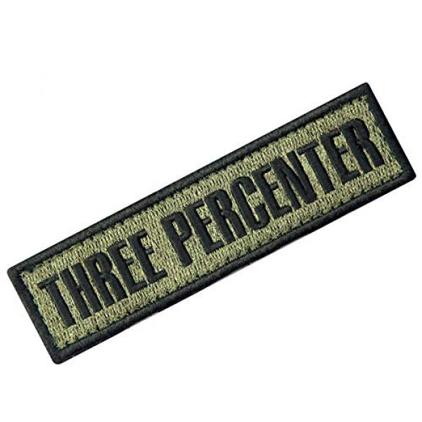EmbTao Airsoft Morale Patch 3 Three Percenter Tactical Embroidered Morale Applique Fastener Hook&Loop Patch - Olive Drab