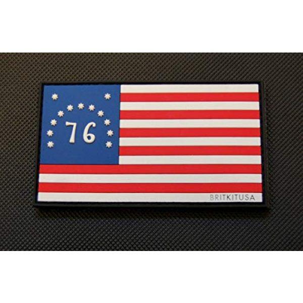 BritKitUSA Airsoft Morale Patch 1 BritKitUSA PVC Bennington Flag Spirit of '76 Morale Patch American Patriot 3% 1776 Hook