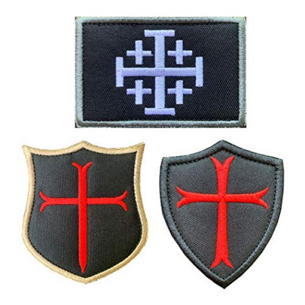Antrix Airsoft Morale Patch 1 Antrix 3 Pieces Jerusalem Cross Crusader Order Holy Sepulchre Crusader Shield Emblem Patch and Crusader Knight Emblem Badge Patch Hook & Loop Tactical Military Morale Patches