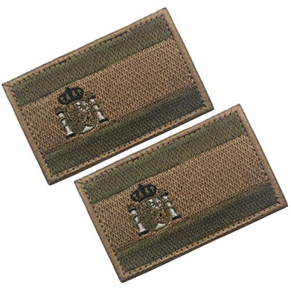 HFDA Airsoft Morale Patch 1 HFDA 2 Piece Different Country Flags Patch - Tactical Combat Military Hook and Loop Badge Embroidered Morale Patch (Spain 3)