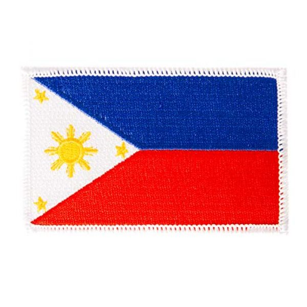 Desert Cactus Airsoft Morale Patch 1 Philippines Flag Patch 3.5 inch x 2.25 inch Iron On Sew Embroidered Tactical Backpack Hat Bags (Single Patch)