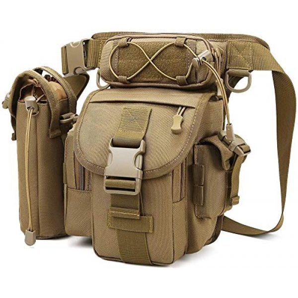 ACOMOO Tactical Pouch 1 ACOMOO Tactical Drop Leg Waist Bag Mens Outdoor Sport Thigh Hip Pack Utility Pouch Brown