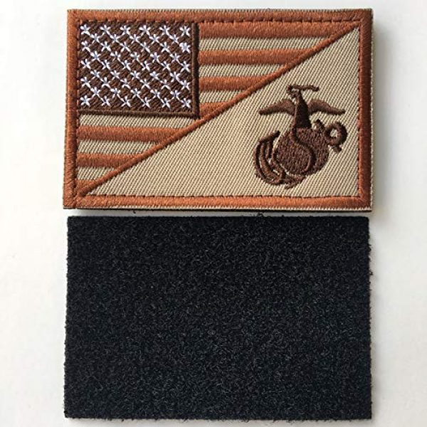 """Xunqian Airsoft Morale Patch 2 USA American Flag w/Marine Corps USMC Military Tactical Morale Badge Patch 3"""" x 1.97"""" (Brown)"""