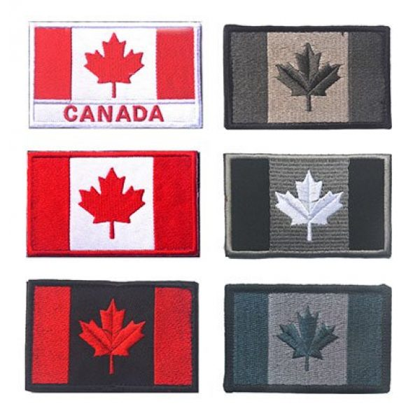 TOWEE Airsoft Morale Patch 1 Canada Flag Tactical Patch, TOWEE 6 Pack Canadan Flag Patches Tactical Tags Patch Military Patch Embroidered Border Canada Military Uniform Emblem Morale Patches
