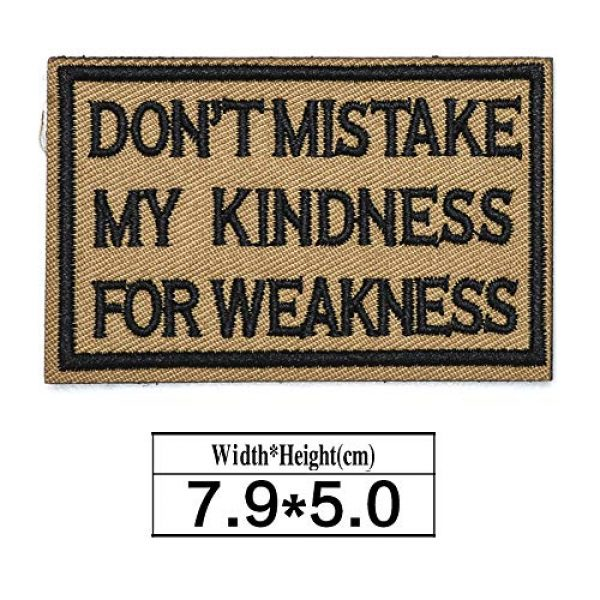 ZHDTW Airsoft Morale Patch 2 ZHDTW Tactical Morale Letter Patches Don't Mistake My Kindness for Weakness Decorative Patches with Hook Loop for Bags, Backpacks, Clothing (DT050)
