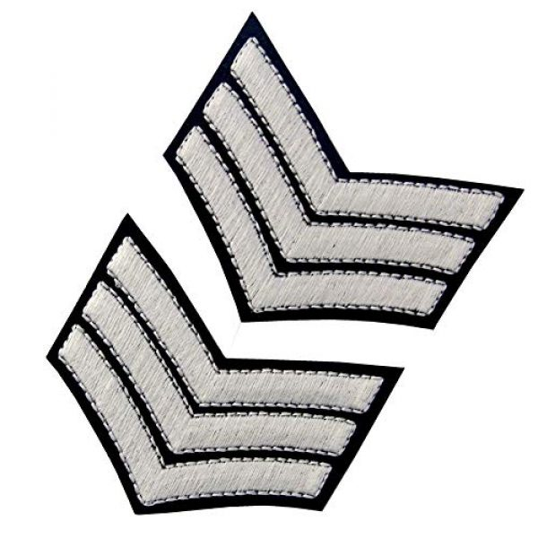 EmbTao Airsoft Morale Patch 5 Glow in Dark Millitary Uniform Chevrons Sergeant Stripes US Army Embroidered Arms Emblem Iron On Sew On Shoulder Patch, Pack of 2