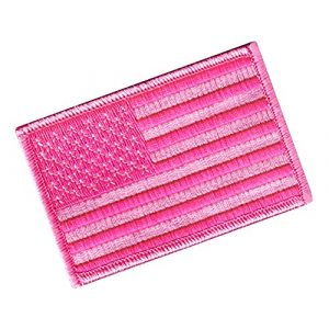 Cypress Collectibles Embroidered Patches Airsoft Morale Patch 1 American Flag Embroidered Tactical Patch All Pink w/Velcro Brand Fastener