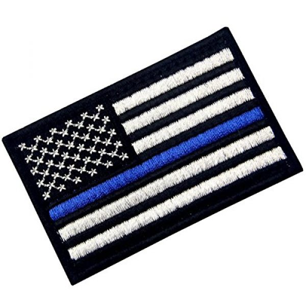 EmbTao Airsoft Morale Patch 3 Tactical Embroidered Thin Blue Line USA Flag Fastener Hook & Loop Patch