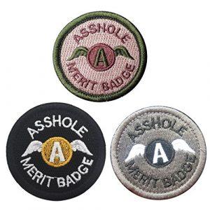 Homiego Airsoft Morale Patch 1 Homiego Bundle 3 Pieces Set Asshole Merit Badge Morale Patches - Military Tactical Morale Funny Patch