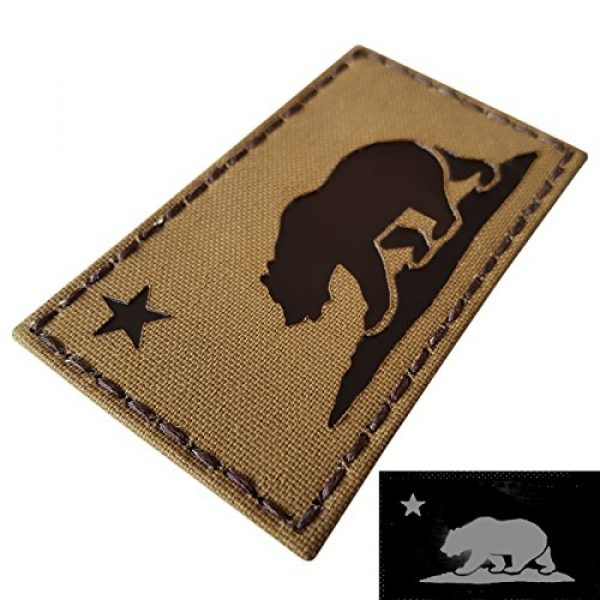 Tactical Freaky Airsoft Morale Patch 1 Coyote Brown Infrared IR California Republic State Flag 3.5x2 Tan Arid IFF Tactical Morale Touch Fastener Patch