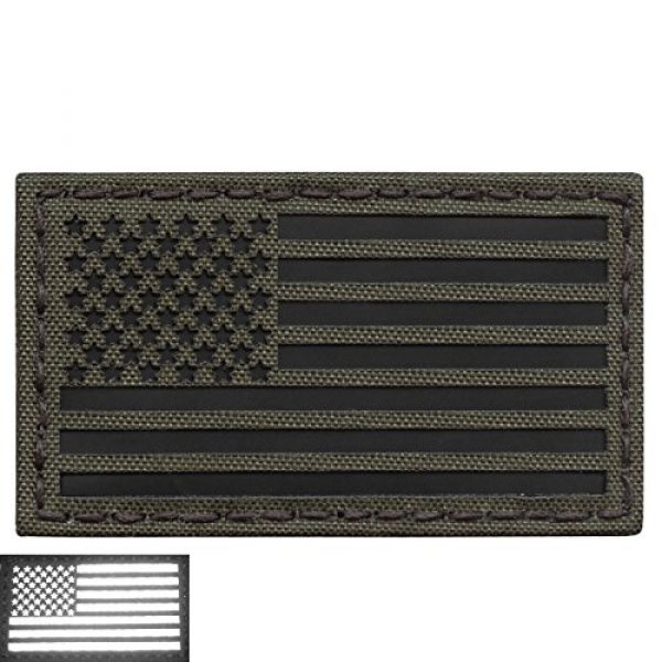 Tactical Freaky Airsoft Morale Patch 3 Olive Drab Green OD Infrared IR USA American Flag 3.5x2 IFF Tactical Morale Hook-and-Loop Patch