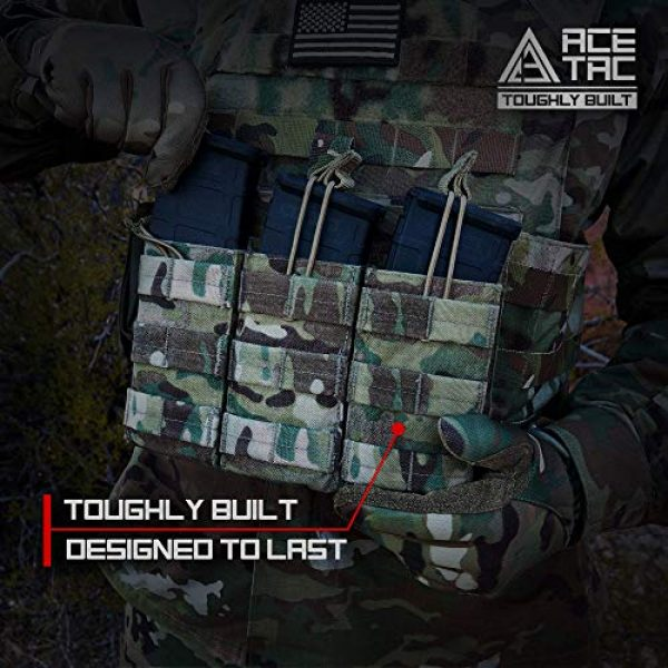 AceTac Gear Tactical Pouch 5 AceTac Tactical Triple Open Top Mag Pouch Mil-Spec Nylon Magazine Holder for with Adjustable Bungee Straps for Easy Carry and Use, Fit Pmag Lancer Ruger ProMag UTG D&H Mission First and More