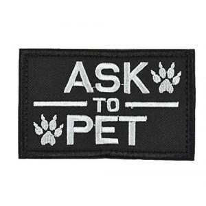 Jadedragon Airsoft Morale Patch 1 Jadedragon ASK TO PET/SERVICE DOG Embroidered Morale Hook Fastener Tactical Patch (Ask Black)