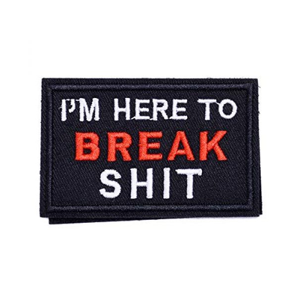 ZHDTW Airsoft Morale Patch 1 ZHDTW Tactical Morale Letter Patches I'm Here to Break Shit Decorative Patches with Hook Loop for Bags, Backpacks, Clothing (DT055)