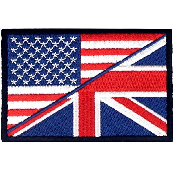 EmbTao Airsoft Morale Patch 1 USA American UK Union Jack Flag Patch Embroidered Morale Applique Iron On Sew On Emblem