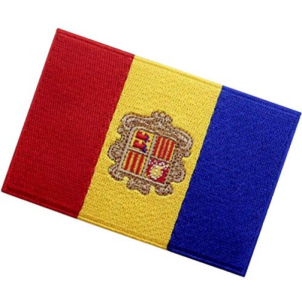 EmbTao Airsoft Morale Patch 4 EmbTao Andorra Flag Patch Embroidered National Morale Applique Iron On Sew On Andorran Emblem
