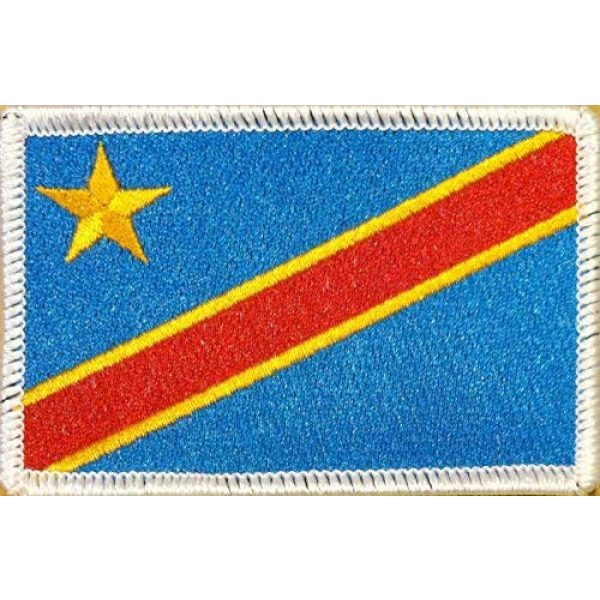 Fast Service Designs Airsoft Morale Patch 1 Democratic Republic of The Congo Flag Patch with Hook & Loop Travel Patriotic MC Biker Morale Emblem #06 (White Border)