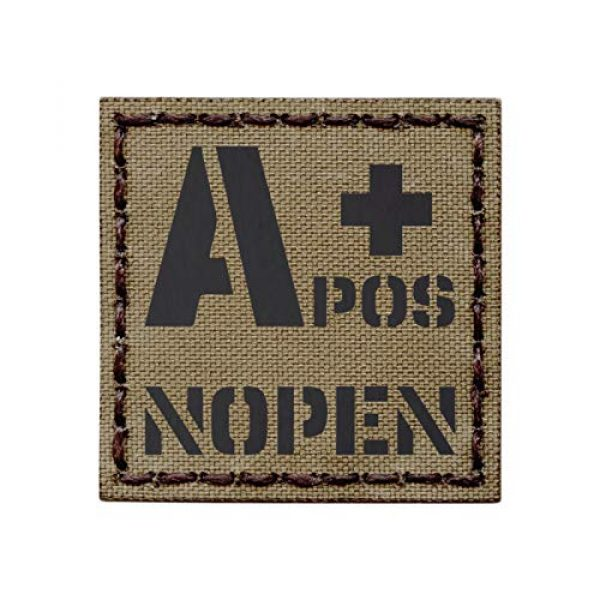Tactical Freaky Airsoft Morale Patch 1 Tan IR APOS A+ NOPEN No Penicillin Allergy Coyote Brown Blood Type 2x2 Tactical Morale Fastener Patch