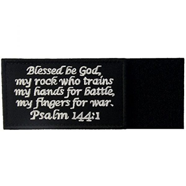 EmbTao Airsoft Morale Patch 5 Tactical Psalm 144:1 BNW Patch Combat Badge Morale Applique Embroidered Fastener Hook & Loop Emblem