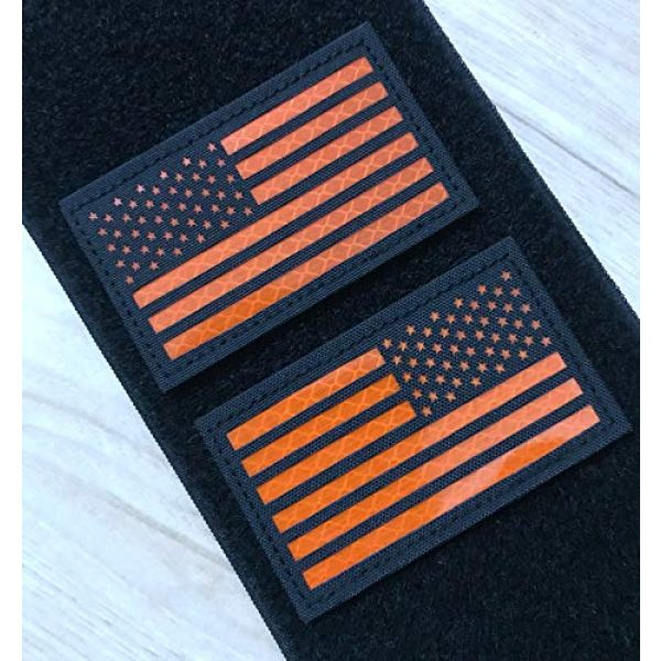 Hannah Fit Airsoft Morale Patch 2 2x3.5 Reflective US USA American Flag Tactical Patches Hook-Fastener Backing (1 Left + 1 Right (Black-Orange)