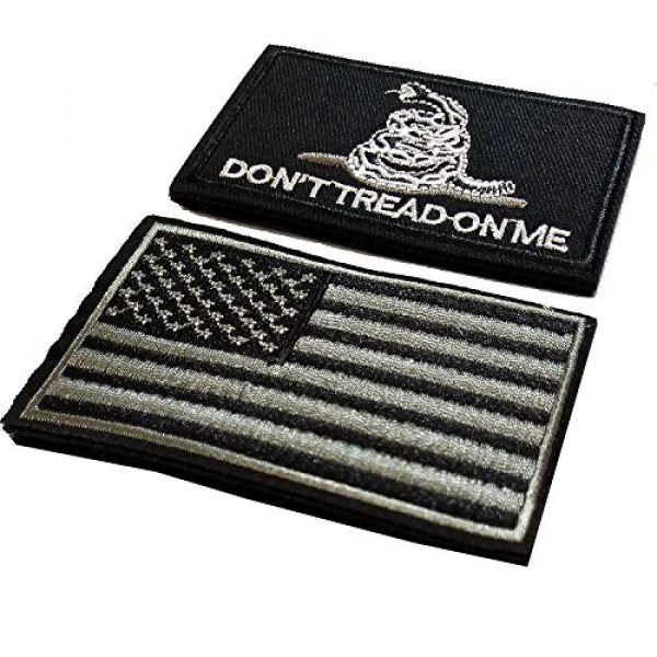 CZorange Airsoft Morale Patch 2 Don't Tread on Me Tactical Patch Military Morale Patch with USA Flag Patches Black
