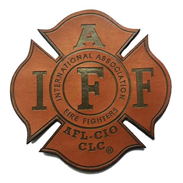 """Empire Tactical USA Airsoft Morale Patch 1 Genuine Leather IAFF UNION 4"""" (hook/loop) Firefighter/EMT/Paramedic Morale PATCH"""