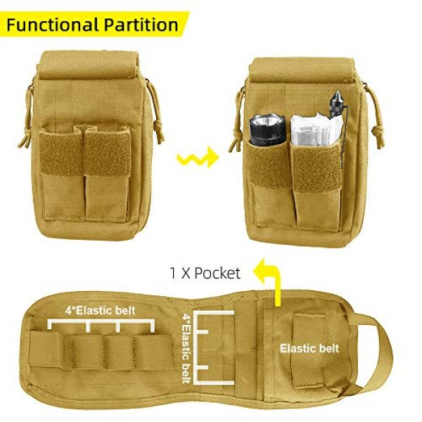 AMYIPO Tactical Pouch 6 AMYIPO Molle EMT Pouch First Aid Kit Pouch Rip-Away Emergency Survival Kit Tactical MOLLE Medical Utility Quick Release Design Bag