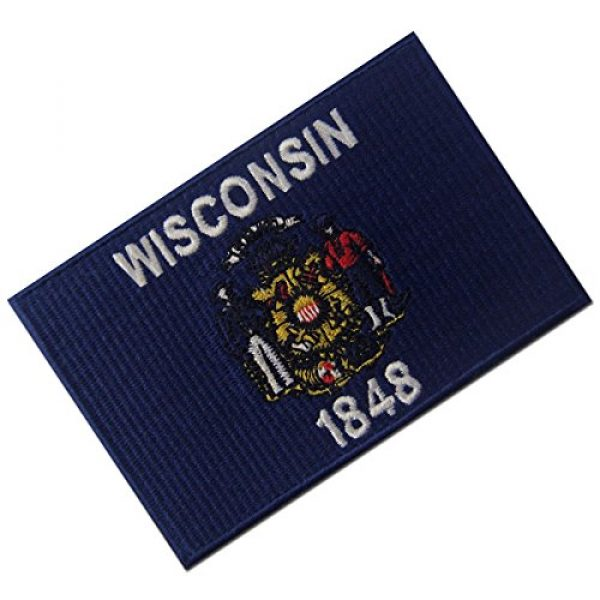 EmbTao Airsoft Morale Patch 3 Wisconsin State Flag Embroidered Emblem Iron On Sew On WI Patch