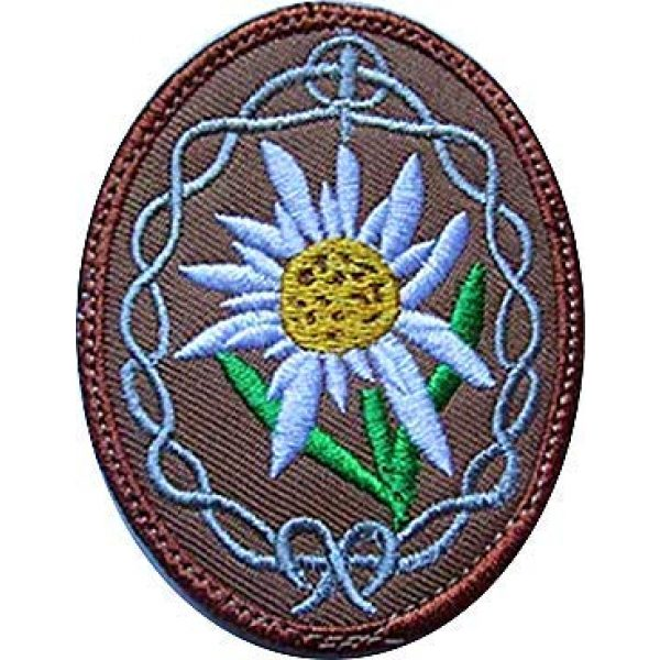 Embroidery Patch Airsoft Morale Patch 1 WWII German Mountain Troops Elite Edelweiss Military Hook Loop Tactics Morale Embroidered Patch
