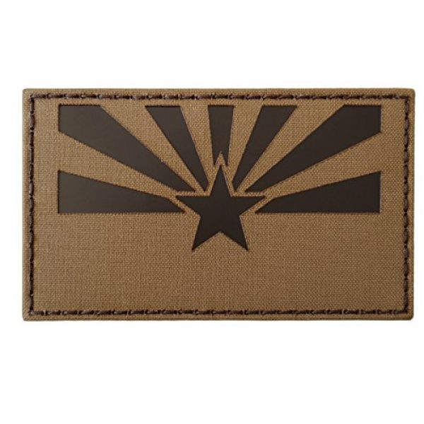 Tactical Freaky Airsoft Morale Patch 4 Big 3x5 Coyote Brown Tan Infrared IR Arizona Flag IFF Tactical Morale Hook-and-Loop Patch