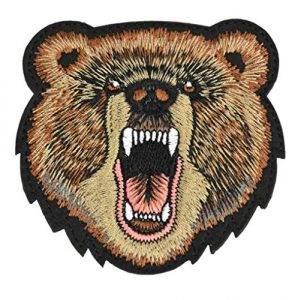 JFFCE Airsoft Morale Patch 1 Great Originality Morale Patch Full Embroidery Military Patch for Caps,Bags,Backpacks,Clothes,Tactical Vest,Military UniformsBear Head
