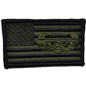Tactical Gear Junkie Airsoft Morale Patch 1 2x3.5 USA Flag with Superimposed Air Assault Patch - Olive Drab OD
