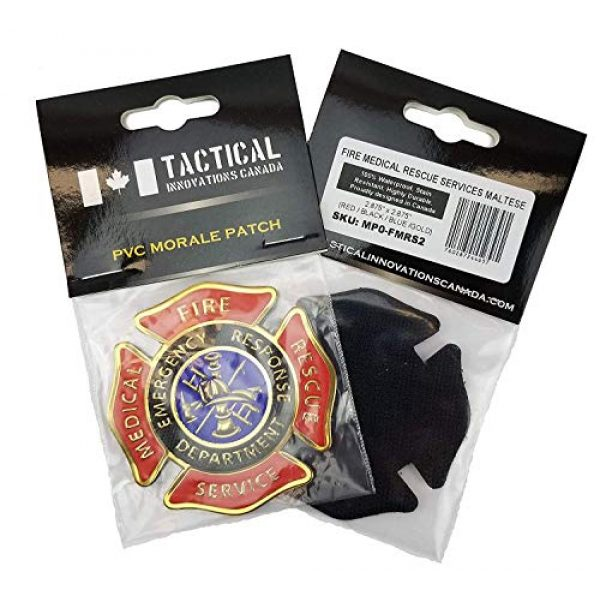 """Tactical Innovations Canada Airsoft Morale Patch 4 PVC Morale Patch - Fire Medical Rescue Services 3""""x3""""- Red/Black/Blue/Gold"""