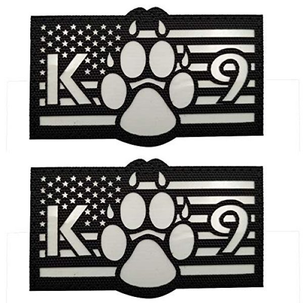 APBVIHL Airsoft Morale Patch 1 Glow in Dark USA Flag K9 Dog Handler Paw K-9 Tactical Morale Fastener Patch, Hook and Loop Backing for Harness Vest, Bundle 2 Pieces, 3.54 x 2.17 Inch