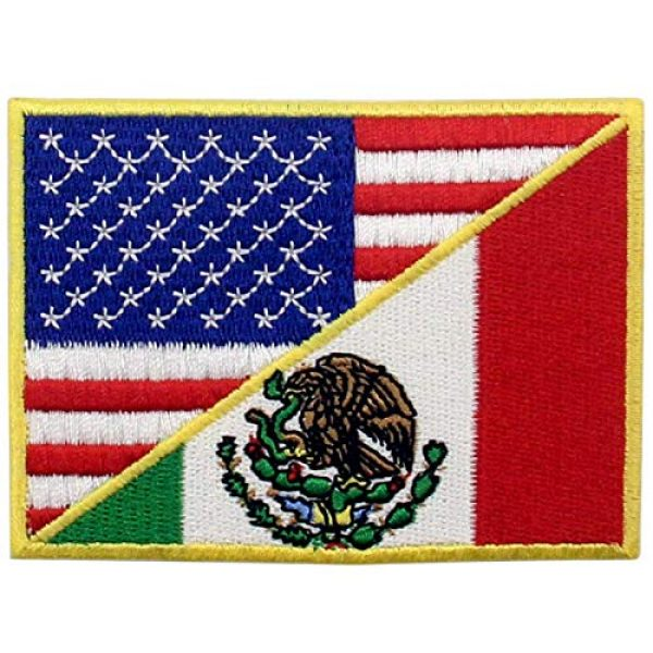 EmbTao Airsoft Morale Patch 1 USA American United State Flag and Mexico Flag Patch Embroidered National Applique Iron On Sew On Emblem, Multi-Color