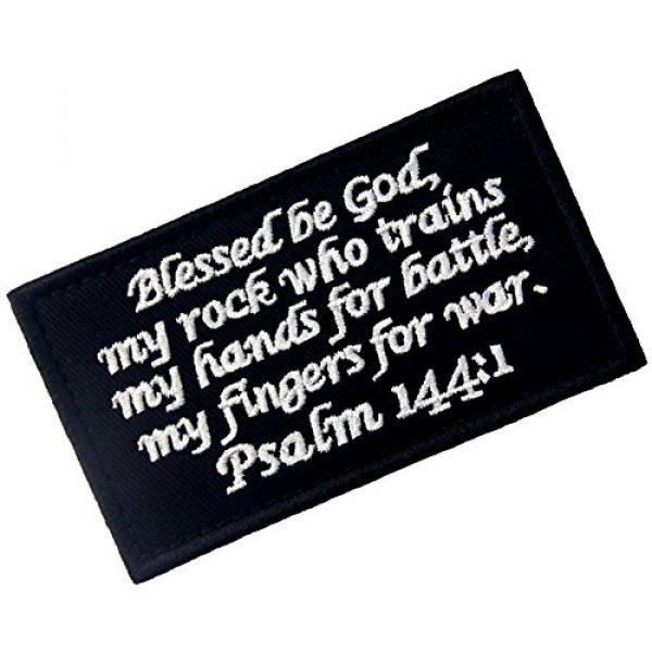 EmbTao Airsoft Morale Patch 3 Tactical Psalm 144:1 BNW Patch Combat Badge Morale Applique Embroidered Fastener Hook & Loop Emblem