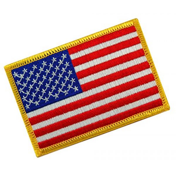 Cypress Collectibles Embroidered Patches Airsoft Morale Patch 1 American Flag Embroidered Tactical Patch Gold Border w/Velcro Brand Fastener