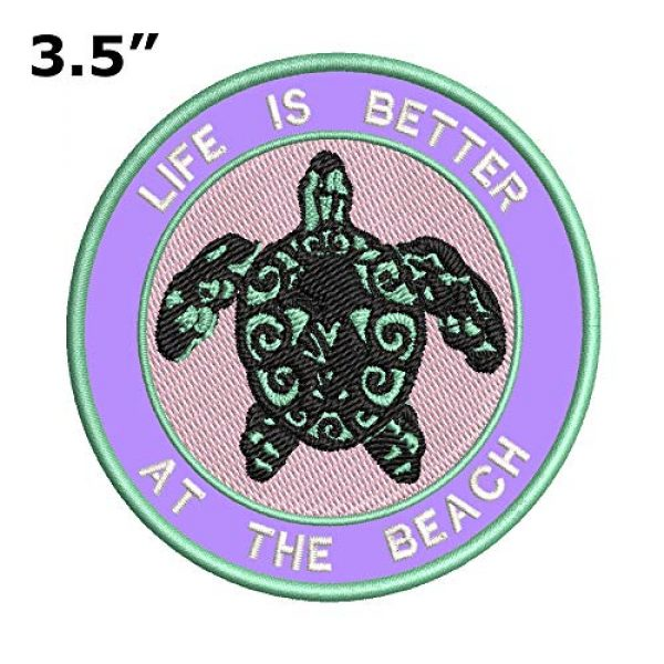 Appalachian Spirit Airsoft Morale Patch 2 Life is Better at The Beach Sea Turtle Embroidered Patch DIY Iron-on or Sew-on Decorative Badge Emblem Vacation Souvenir Travel Gear Appliques Megalodon Big Tooth Sharks Dolphins Whales Sea Life Jaws