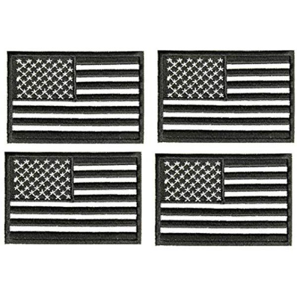 ASA Techmed Airsoft Morale Patch 1 ASA Techmed 4 Pack Black and White US USA Flag Embroidered Patch Military Iron On Sew On Tactical Morale Patch for Hats Backpacks Caps Jackets + More