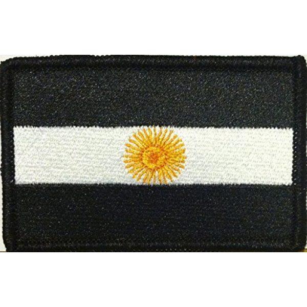 Fast Service Designs Airsoft Morale Patch 1 Argentina Flag Embroidered Patch with Hook & Loop Travel Patriotic Morale Shoulder B & W Emblem Black Border #22
