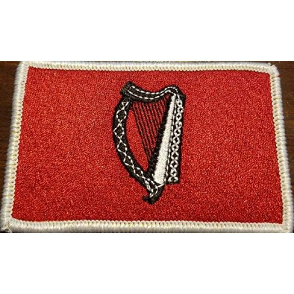 Fast Service Designs Airsoft Morale Patch 1 Irish Ireland The Harp Flag Embroidered Patch with Hook & Loop MC Biker Tactical Morale Shoulder Emblem Red & Black Version White Border