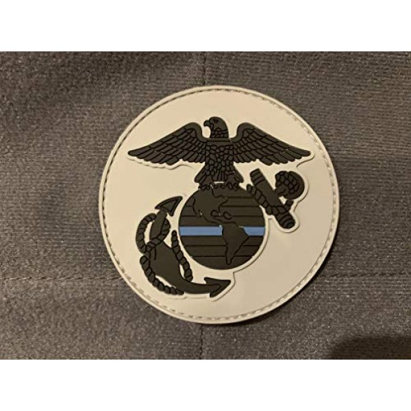 PakedDeals Airsoft Morale Patch 3 Round Thin Blue Line USMC Eagle Globe Anchor Patch Gear Bag Vest Police Marines