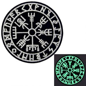 EmbTao Airsoft Morale Patch 1 EmbTao Glow in Dark Vegvisir Viking Compass Norse Rune Morale Tactical Embroidered Applique Fastener Hook&Loop Patch