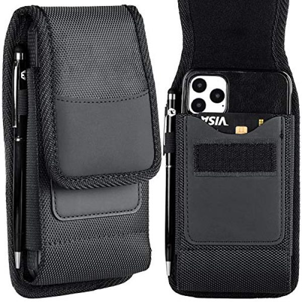 Aatacas Tactical Pouch 7 Tactical Carrier with [Belt Loop & Holster] Heavy Duty Rugged Nylon Carrying Case Pouch Phone Holder Belt Case with Clip, Fits Cell Phone with Thin Case On