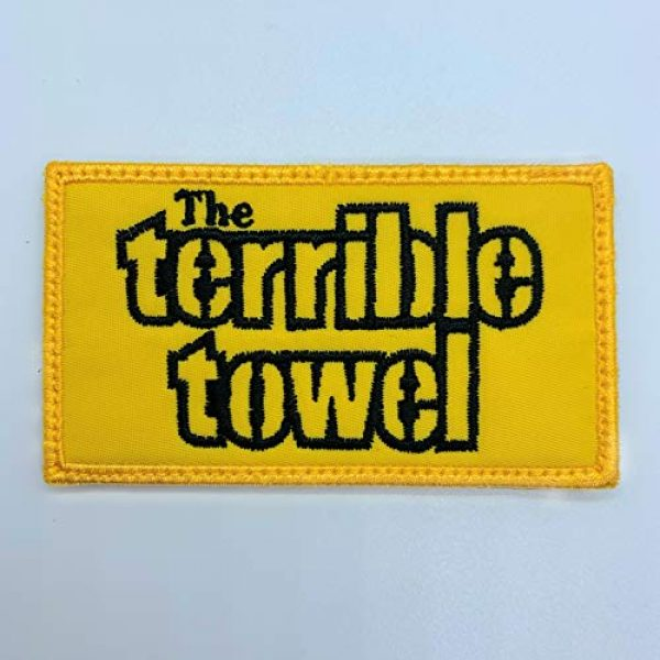 Almost SGT Airsoft Morale Patch 1 Steelers The Terrible Towel Logo - Funny Tactical Military Morale Embroidered Patch Hook Backing(Yellow)