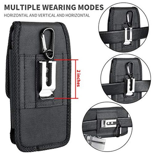 Aatacas Tactical Pouch 6 Tactical Carrier with [Belt Loop & Holster] Heavy Duty Rugged Nylon Carrying Case Pouch Phone Holder Belt Case with Clip, Fits Cell Phone with Thin Case On