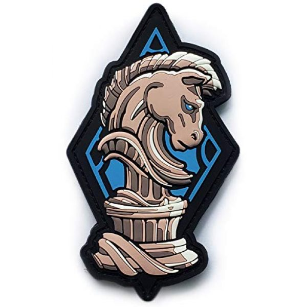 """Generic Airsoft Morale Patch 1 PVC Chess Knight Morale Tactical Patch with Hook and Loop Backing, 5"""" tall"""