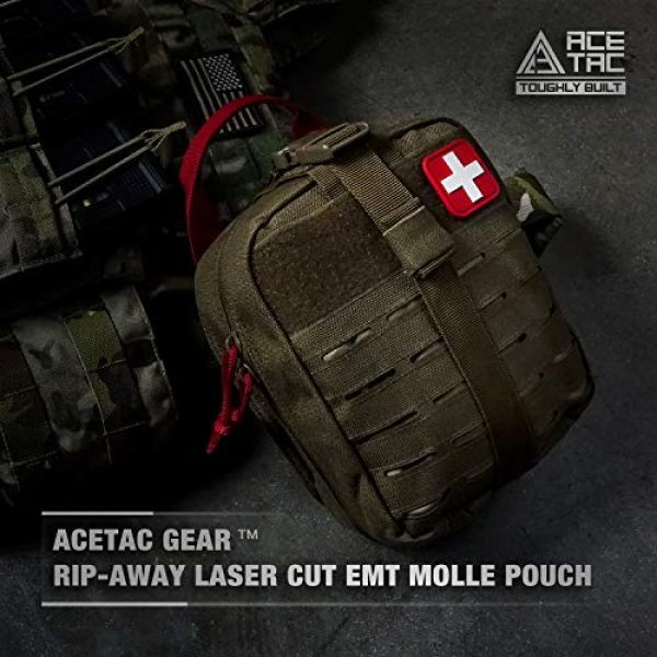 AceTac Gear Tactical Pouch 4 Ace Tac MOLLE Medical Pouch EMT 1000D Nylon First Aid Pouch Rip-Away IFAK Tactical Utility Pouch for Outdoor Activities Medical Supplies