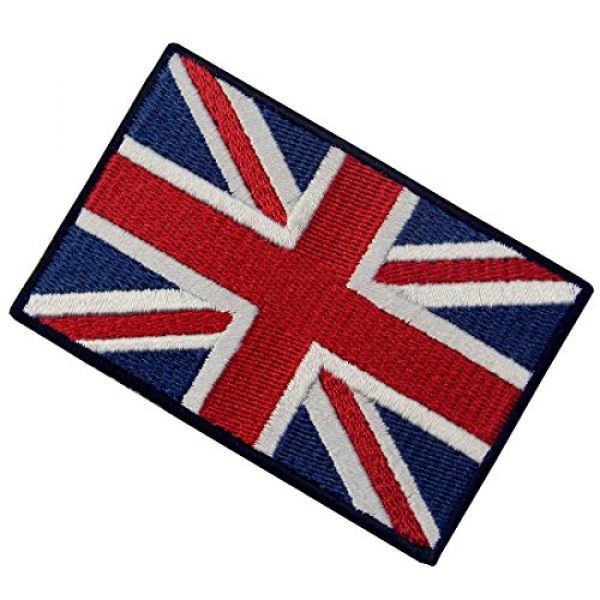EmbTao Airsoft Morale Patch 4 EmbTao Patches British Union Jack Embroidered England Flag UK Great Britain Hook & Loop Emblem
